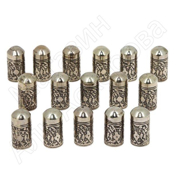 Мельхиоровые газыри ручной работы (комплект 16 шт)