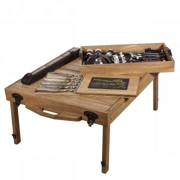 Эксклюзивный набор для пикника в кейсе-столе (массив дуба)