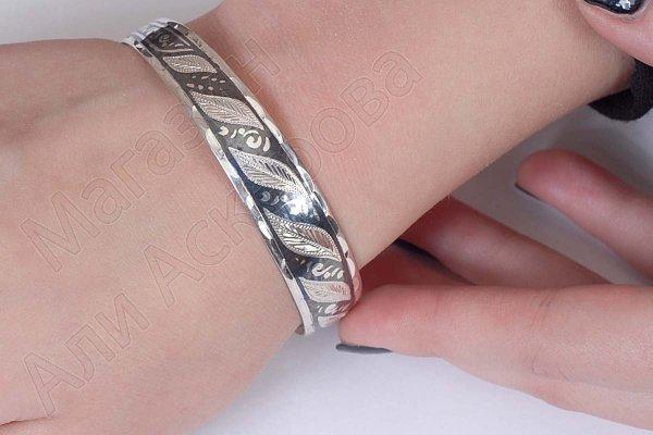 Серебряный кубачинский браслет узкий №20