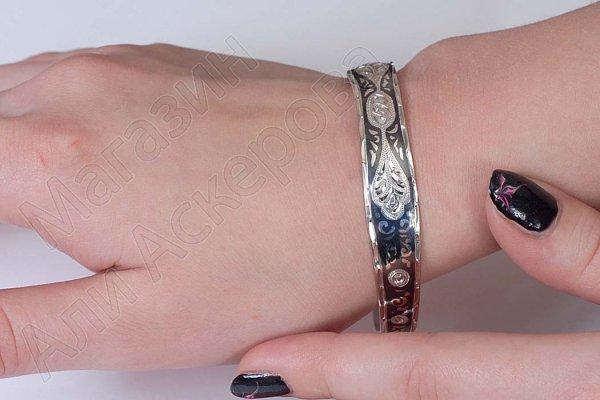 Серебряный кубачинский браслет узкий №23