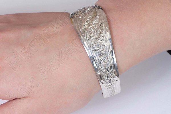 Серебряный кубачинский браслет белый №12
