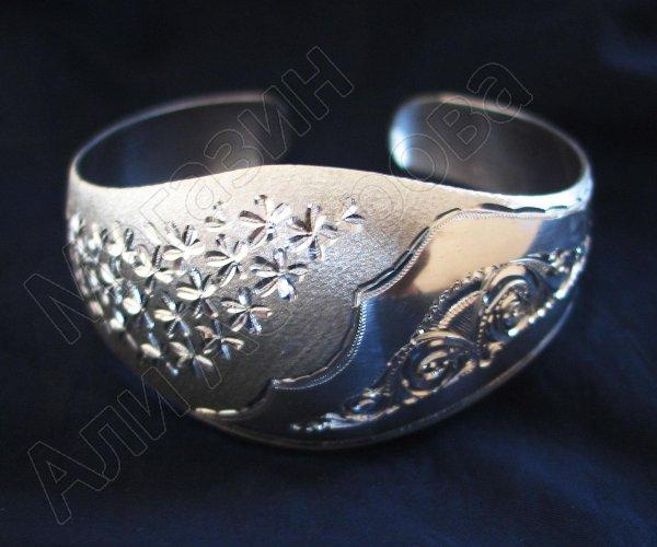 Серебряный кубачинский браслет белый №6