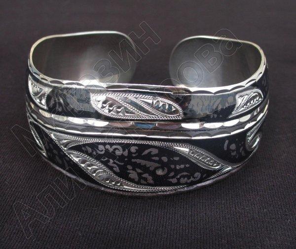 Серебряный кубачинский браслет с чернением  505