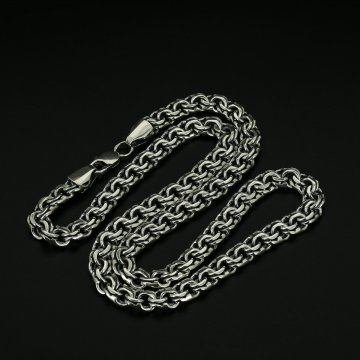Серебряная цепь Бисмарк 60 см (ширина 1 см)
