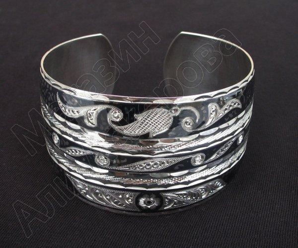 Серебряный кубачинский браслет комбинированный №19