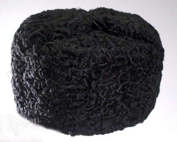 Мужская каракулевая шапка ручной работы черная (сорт - чистопородный пулат)