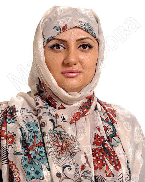 """Арабский шелковый палантин премиум качества """"Хрустальный жоржет"""" светлый"""