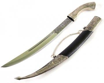 Кинжал (турецкий ятаган) Янычар №1 (ножны – мельхиор и натур.кожа)
