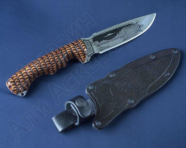 Туристический нож Викинг (сталь 65Х13, рукоять дерево) арт.2084