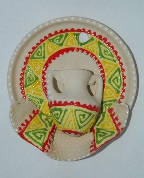 """Сувенирная глиняная тарелочка ручной работы """"Кувшинчик"""" красно-желтая"""