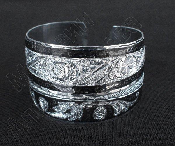 Серебряный кубачинский браслет комбинированный №23