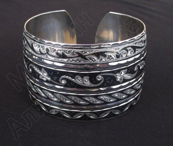 Серебряный кубачинский браслет комбинированный №29