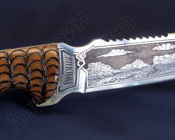 Туристический нож Викинг (сталь 65Х13, рукоять дерево)