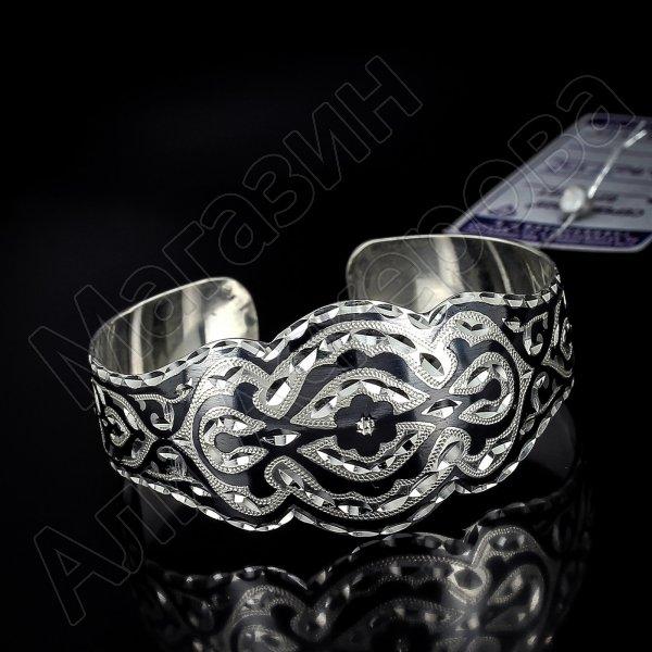 Серебряный кубачинский браслет с алмазной гранью №1