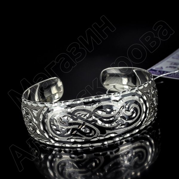 Серебряный кубачинский браслет с алмазной гранью №3
