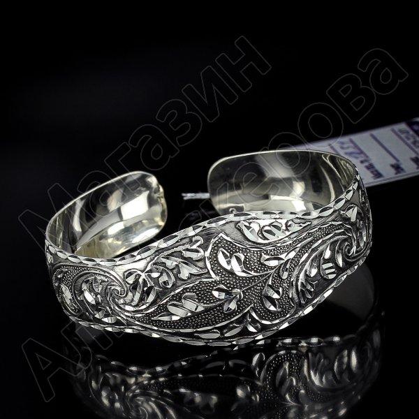 Серебряный кубачинский браслет с алмазной гранью №9