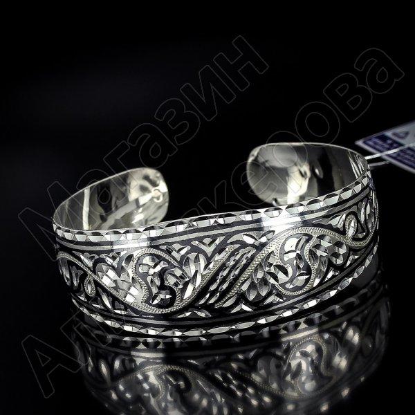Серебряный кубачинский браслет с алмазной гранью №15