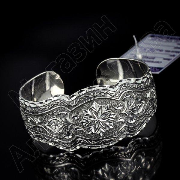 Серебряный кубачинский браслет с алмазной гранью №16