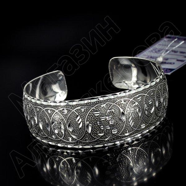 Серебряный кубачинский браслет с алмазной гранью №22