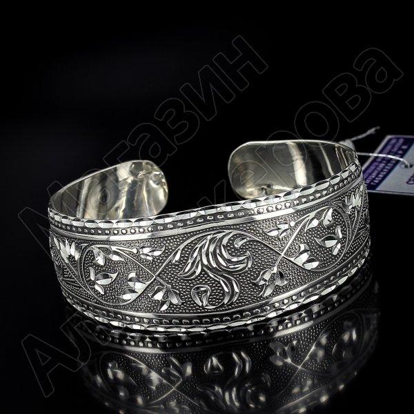 Серебряный кубачинский браслет с алмазной гранью №24