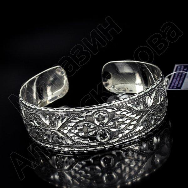 Серебряный кубачинский браслет с алмазной гранью №27
