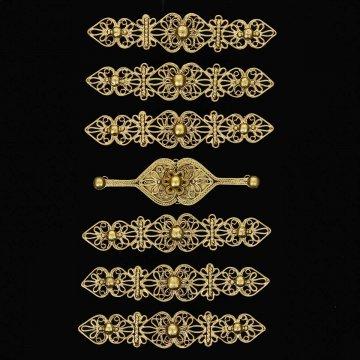 Нагрудники латунные ручной работы на женский костюм мастера Магомеда Идрисова (7 элементов)