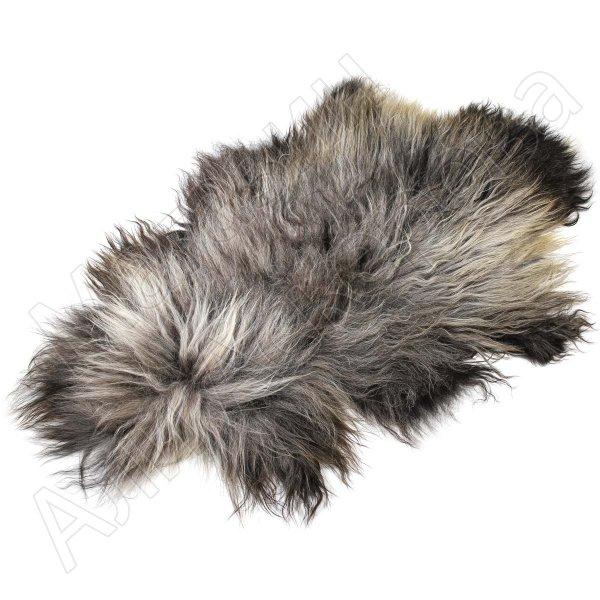 Натуральная козья шкура (цвет - серый, длинный ворс, ручная выделка)