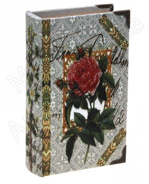 """Подарочная сейф-книга """"Садовая роза"""" обтянута шёлком"""