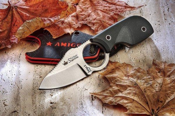 Шейный нож Amigo X (сталь D2 Satin, рукоять G10 Green)