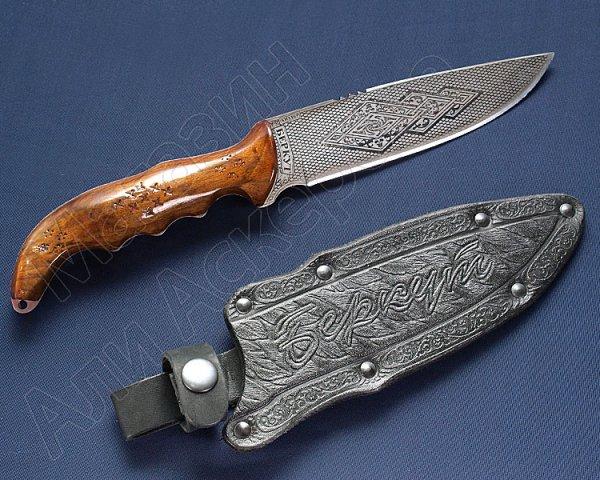 Кизлярский нож туристический Беркут с резной ручкой