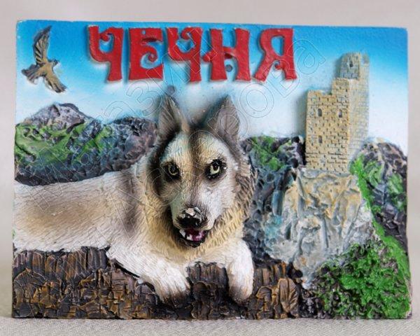 """Магнитик керамический """"Чеченский волк"""" ручная работа"""