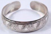 Серебряный кубачинский браслет белый №19