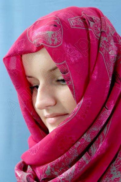 """Арабский шелковый палантин премиум качества """"Хрустальный жоржет"""" насыщенно-розовый"""