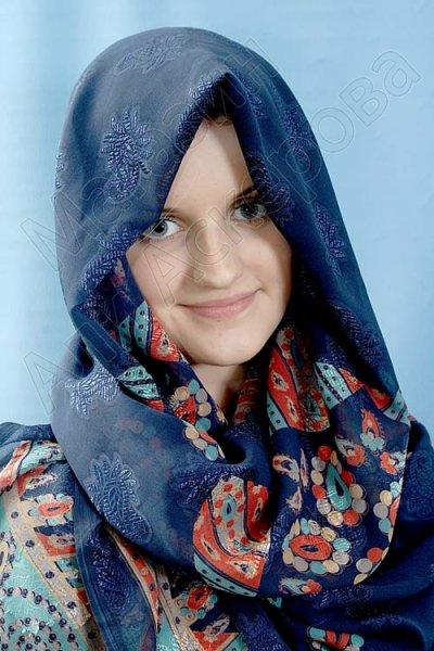 """Мусульманский шелковый палантин премиум качества """"Хрустальный жоржет"""" синий"""