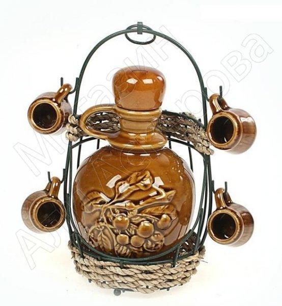 """Набор для коньяка керамический """"Бочка с вишней"""""""