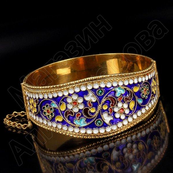 Серебряный кубачинский браслет с эмалью №11