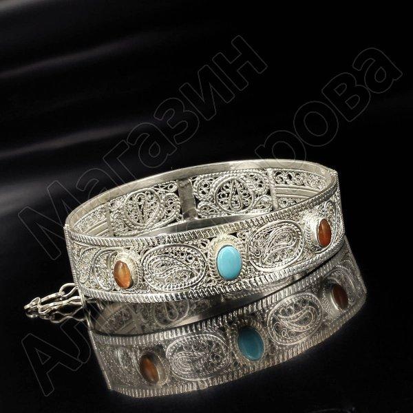 Серебряный браслет с филигранью (бирюза, опал)