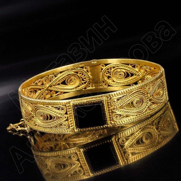 Серебряный кубачинский браслет с эмалью №13
