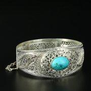 Кубачинский серебряный браслет с филигранью (камень - бирюза) арт.10720