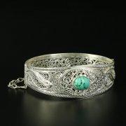 Кубачинский серебряный браслет с филигранью (камень - бирюза) арт.10721