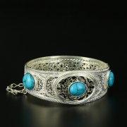 Кубачинский серебряный браслет с филигранью (камень - бирюза) арт.10722