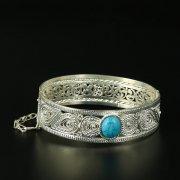 Кубачинский серебряный браслет с филигранью (камень - бирюза) арт.10723