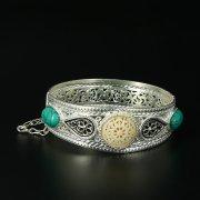Кубачинский серебряный браслет с филигранью (камень - бирюза) арт.10725