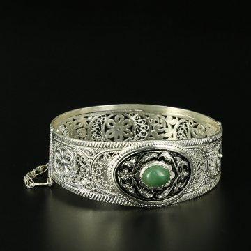 Кубачинский серебряный браслет с филигранью (камень - кошачий глаз)