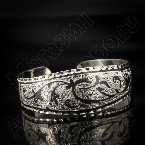 Серебряный кубачинский браслет широкий №12