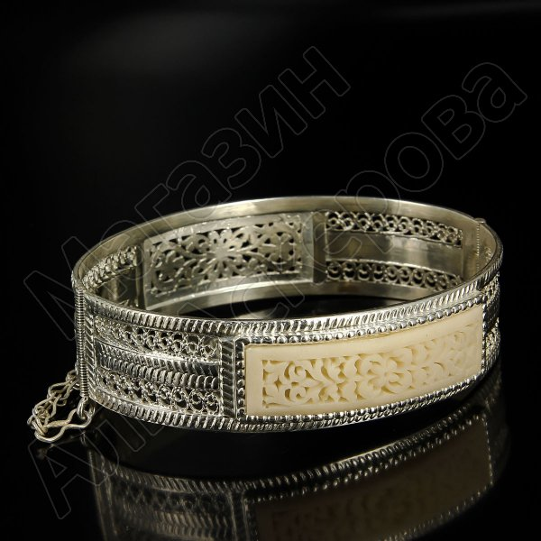 Кубачинский серебряный браслет с филигранью (вставка из слоновой кости)