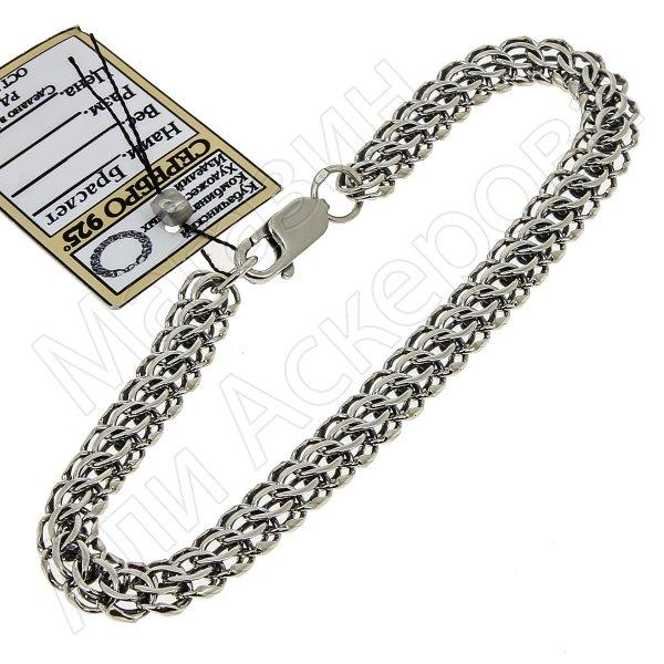 Серебряный браслет Кобра 20 см (ширина 0,75 см) арт.11019