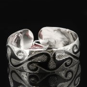 Серебряный кубачинский браслет с чернением арт.7654
