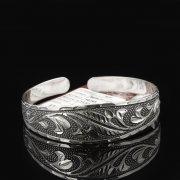 Серебряный кубачинский браслет с гравировкой арт.7664