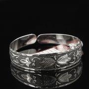 Серебряный кубачинский браслет с гравировкой арт.7668